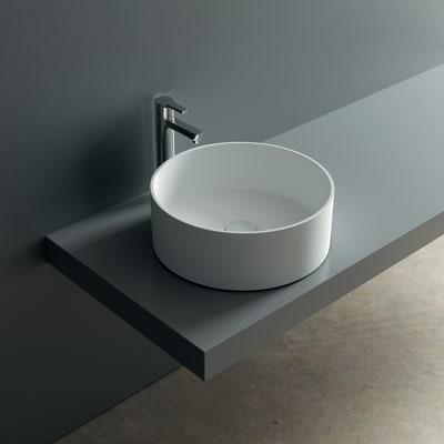 Lavabo da appoggio rotondo Argo in solid surface Ø 37 x H 13 cm bianco
