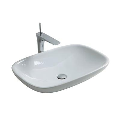 Lavabo da appoggio rettangolare in ceramica L 66 x P 44 x H 12.5 cm bianco