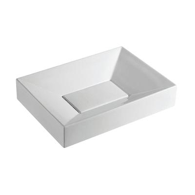 Lavabo Rettangolare Quadro in ceramica L 55 x P 40 x H 10 cm bianco