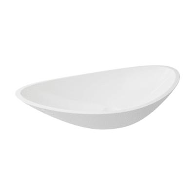 Lavabo free-standing da appoggio ovale Shila in resina L 56.4 x P 32.3 x H 17.3 cm bianco