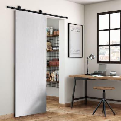 Porta scorrevole con binario esterno Renoir in mdf Kit Loft nero L 92.5 x H 211.5 cm