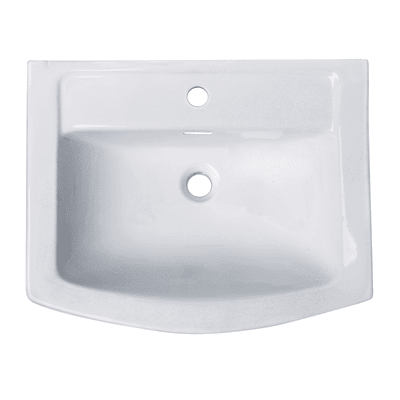 Lavabo Piettra quadrato L 51.0 x P 22.5 cm in porcellana bianco