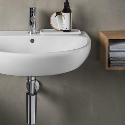 Lavabo sospeso semicircolare Selnova Pro L 65 x H 18 x P 50 cm in ceramica bianco