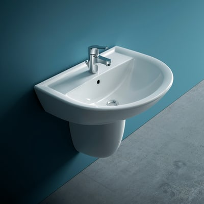 Lavabo sospeso semicircolare Miky New L 60 x H 16 x P 47 cm in ceramica bianco