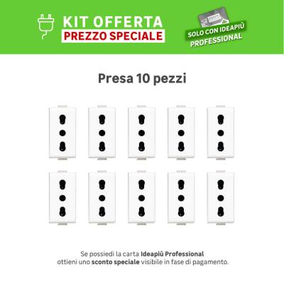 Kit Presa BTICINO Matix 16 A bianco, 10 pezzi