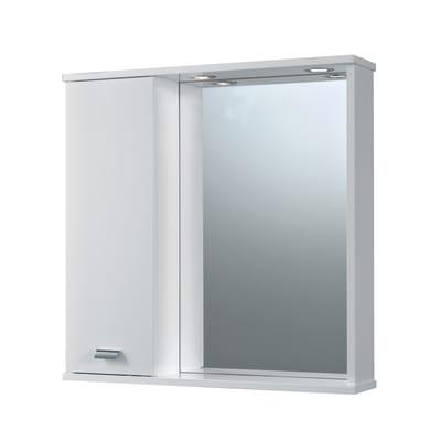 Specchio contenitore con luce Rimini L 73 x P 16.4 x H 74 cm bianco lucido laccato