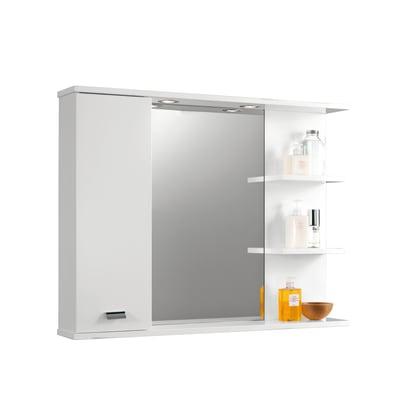 Specchio contenitore con luce Rimini L 95 x P 16.4 x H 74 cm bianco lucido laccato