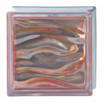 Vetromattone ambra lucido Agua H 19 x L 19 x Sp 8 cm 6 pezzi
