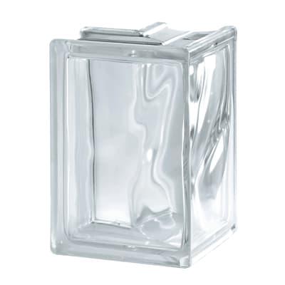 Vetromattone trasparente ondulato H 19 x L 13.2 x Sp 8 cm