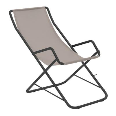 Sdraio pieghevole in acciaio Relax colore beige