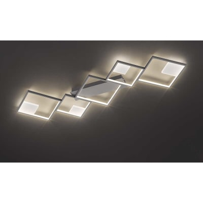 Plafoniera moderno Jade LED integrato grigio, in metallo,  D. 131 cm 6x131 cm, 5  luci WOFI
