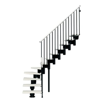 Scala a rampa 1/4 di giro Long FONTANOT L 90 cm, gradino bianco, struttura nero