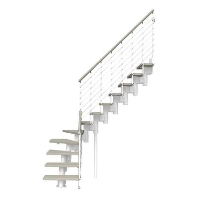 Scala a rampa 1/4 di giro Long Tube FONTANOT L 75 cm, gradino tortora, struttura bianco