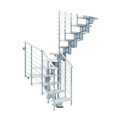 Scala a rampa due quarti di giro Long Tube FONTANOT L 75 cm, gradino bianco, struttura cromato