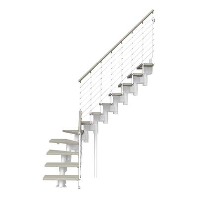 Scala a rampa 1/4 di giro Long Tube FONTANOT L 90 cm, gradino tortora, struttura bianco