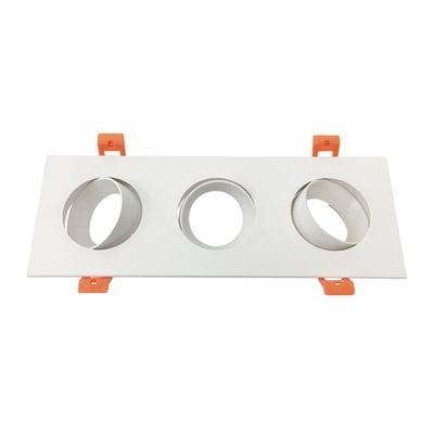 Ghiera per faretto da incasso rettangolo ghiera per faretto ad incasso in plastica, bianco, 25xGU10 3xMAXLampadina non inclusaW IP20 3 pezzi
