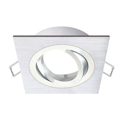 Ghiera per faretto da incasso quadrato Giove in alluminio, argento, GU10 IP23 INSPIRE 1 pezzi