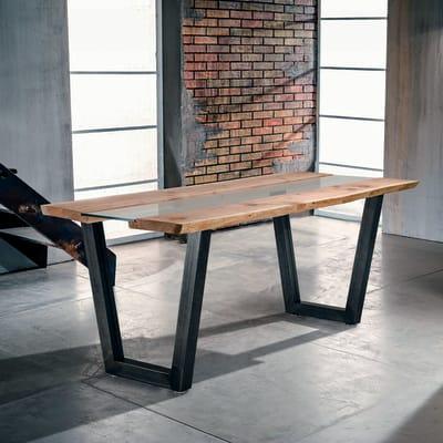 Tavolo rettangolare Vertigo con piano in legno L 85 x P 160 cm