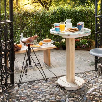 Tavolo da giardino rotondo Tablo' con piano in vetro Ø 60 cm