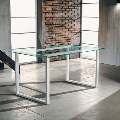 Tavolo da giardino rettangolare Crystal con piano in vetro L 80 x P 160 cm