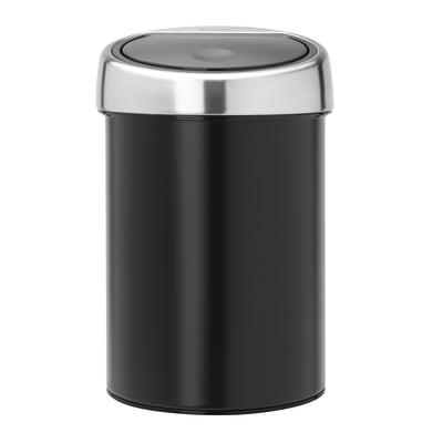 Pattumiera da bagno manuale Touch bin nero 3 L