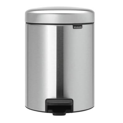 Pattumiera da bagno a pedale Newicon grigio / argento 5 L