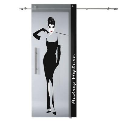 Porta scorrevole con binario esterno Audrey in vetro Kit B L 88 x H 220 cm dx