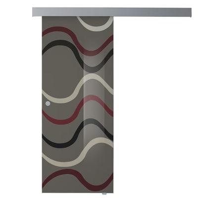 Porta scorrevole con binario esterno Carpet 4 in vetro Kit A L 88 x H 215 cm dx