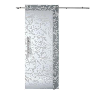 Porta scorrevole con binario esterno Decor in vetro Kit B L 88 x H 220 cm dx