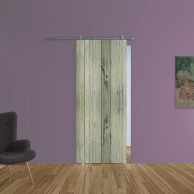 Porta scorrevole con binario esterno Dogato in vetro Kit Ermes L 88 x H 215 cm sx