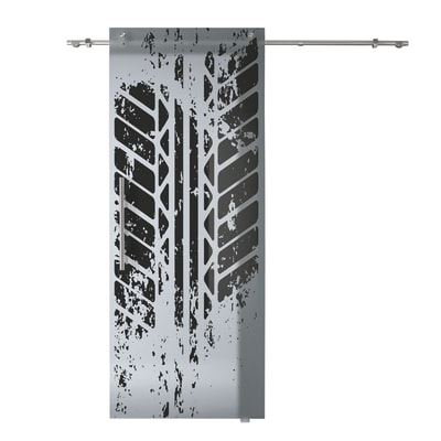 Porta scorrevole con binario esterno Tracce in vetro Kit B L 88 x H 220 cm dx