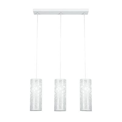 Lampadario Moderno Batik bianco in acrilico, D. 50 cm, L. 120 cm, 3 luci, FAN EUROPE
