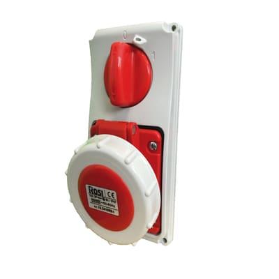 Presa industriale ROSI Interbloccata da incasso serie 19 16 A bianco e rosso