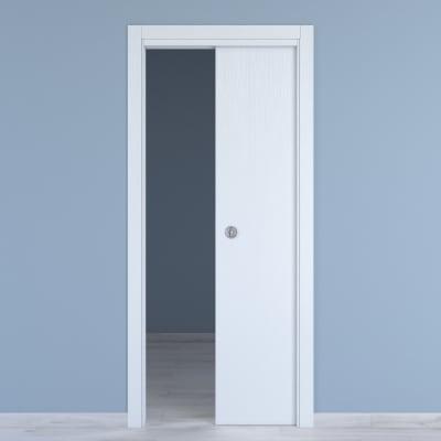 Porta scorrevole a scomparsa Renoir bianco venato L 70 x H 210 cm reversibile