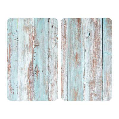 Piastra coprifuoco Allstar vetro blue wood  trasparente L 52 x P 52 cm 4 pezzi