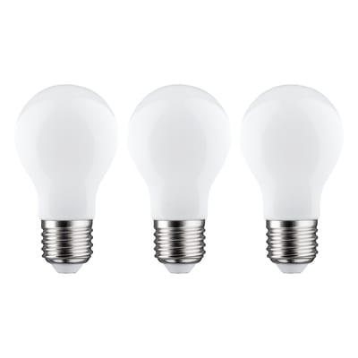 Lampadina LED filamento E27, Goccia, Opaco, Bianco caldo, 7.5W=806LM (equiv 60 W), 360° , LEXMAN , set di 3 pezzi