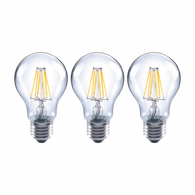Lampadina LED filamento E27, Goccia, Trasparente, Bianco, Luce naturale, 7W=806LM (equiv 60 W), 360° , LEXMAN , set di 3 pezzi
