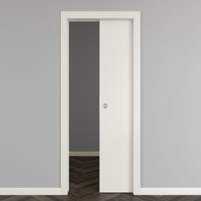 Porta scorrevole a scomparsa Strauss telaio 8.5 cm bianco L 80 x H 210 cm reversibile